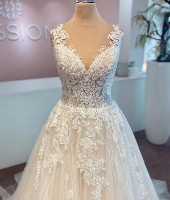 Günstige Hochzeitskleider mit Spitze | Brautkleider A Linie_4