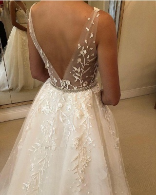 Elegant wedding dresses with lace | Wedding dresses A line cheap_4