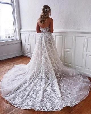 Wunderschöne Brautkleider Spitze | Weiße Hochzeitskleider A Linie_2