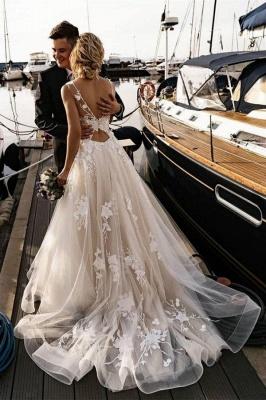 Modern Brautkleider A Linie Spitze | Hochzeitskleider Günstig Online