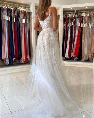Beautiful prom dresses long white   Evening dresses lace cheap_2