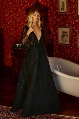 Elegante Abendkleider Lang Glitzer | Abiballkleider Mit Spitze Ärmel_1