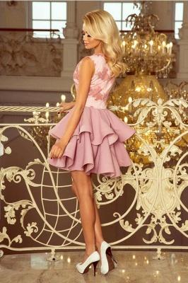 Rosa Cocktailkleider mit Spitze | Abiballkleider Kurz Günstig_2