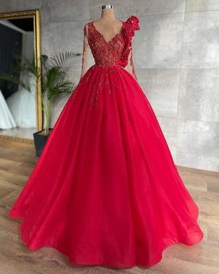 Schöne Abendkleider Lang Rot | Günstige Abiballkleider Mit Ärmel_2