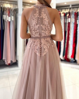 Beautiful evening dress long pink | Prom dresses with lace_5