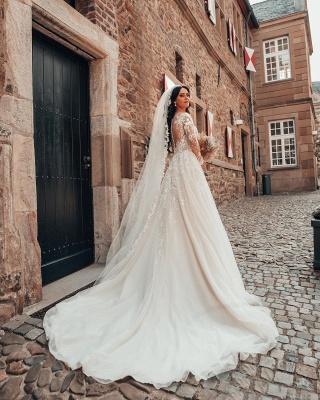 Elegante Brautkleider mit Ärmel   Hochzeitskleider A Linie Spitze_2