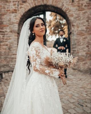 Elegante Brautkleider mit Ärmel   Hochzeitskleider A Linie Spitze_3