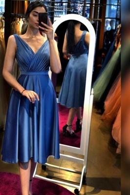 Schlichte Abendkleider Kurz Günstig   Abiballkleider Blau_1