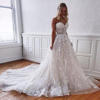 Wunderschöne Brautkleider Spitze | Weiße Hochzeitskleider A Linie_3