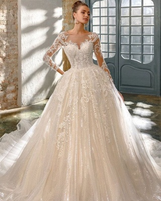 Elegant wedding dresses with glitter   Wedding dresses a line with sleeves_2