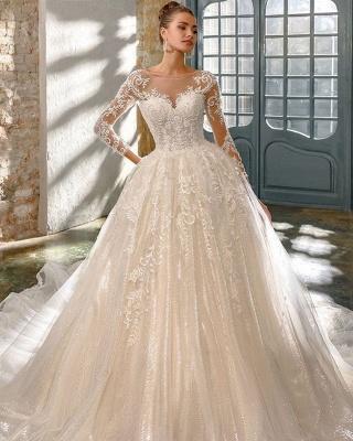 Elegante Brautkleider Mit Glitzer | Hochzeitskleider A Linie Mit Ärmel_2