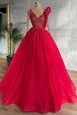Schöne Abendkleider Lang Rot | Günstige Abiballkleider Mit Ärmel_1