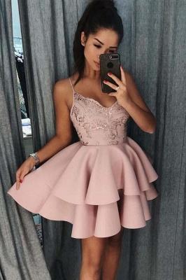 Elegante Abendkleider Mit Spitze | Cocktailkleider Kurz Rosa_1