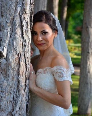 Weiße Brautkleider Spitze   Hochzeitskleider Meerjungfrau Stil_3