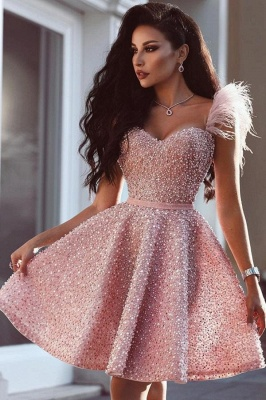Luxury prom dresses cheap | Pink cocktail dresses short_1