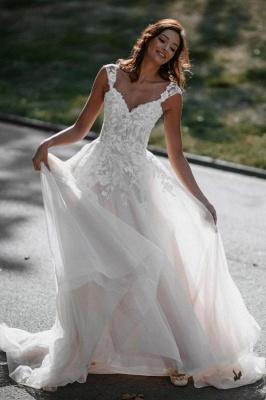 Boho Hochzeitskleider A Linie Spitze | Brautkleider Günstig Online