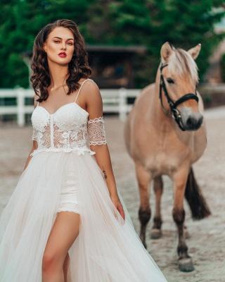 Schlichtes Hochzeitskleid mit Spitze | Boho Brautkleider A Linie_2
