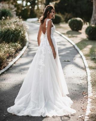 Boho Hochzeitskleider A Linie Spitze | Brautkleider Günstig Online_2