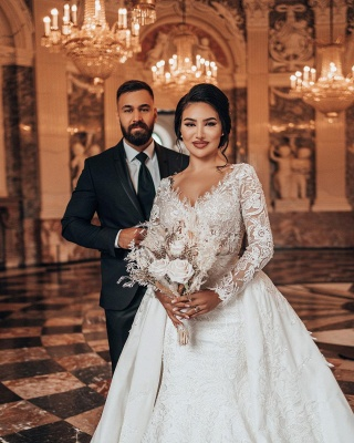 Luxury Wedding Dresses A Line Lace | Wedding dresses with sleeves_3