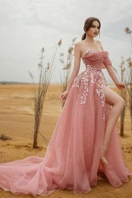 Schöne Abendkleider Lang Rosa | Abiballkleider mit Glitzer