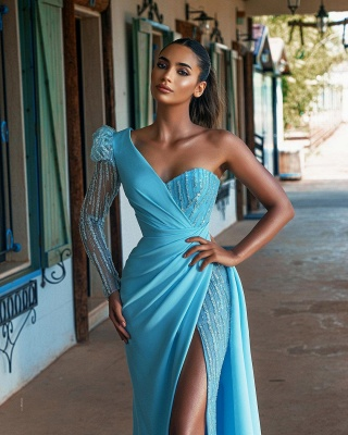 Blue evening dresses long glitter | Prom dresses with sleeves_2