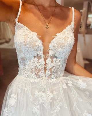Simple wedding dresses A line lace | Boho wedding dresses cheap_5