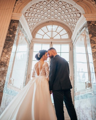 Luxury Wedding Dresses A Line Lace | Wedding dresses with sleeves_5