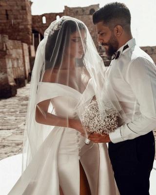 Satin Brautkleider A Linie | Hochzeitskleider Günstig Online_4