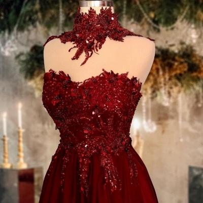 Rote Abendkleider Lang Glitzer | Abiballkleider Günstig_2