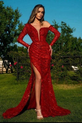 Red evening dresses long glitter | Prom dresses with sleeves