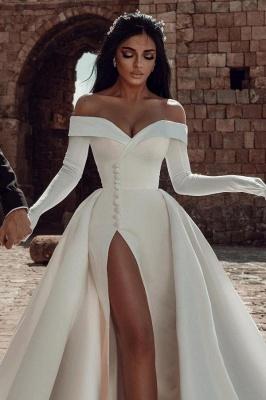 Satin Brautkleider A Linie | Hochzeitskleider Günstig Online_2
