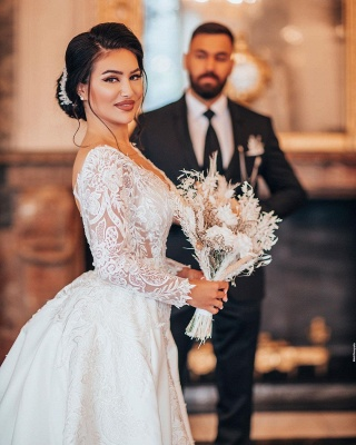 Luxury Wedding Dresses A Line Lace | Wedding dresses with sleeves_4