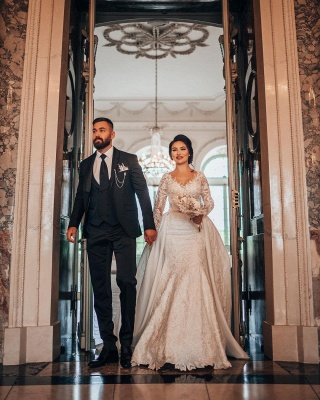 Luxury Wedding Dresses A Line Lace | Wedding dresses with sleeves_8