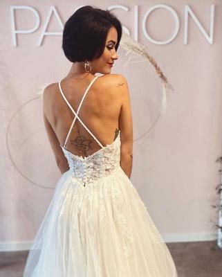 Simple wedding dresses A line lace | Boho wedding dresses cheap_3