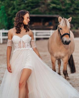 Schlichtes Hochzeitskleid mit Spitze | Boho Brautkleider A Linie_3