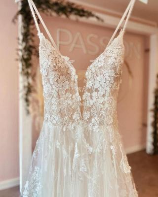 Simple wedding dresses A line lace | Boho wedding dresses cheap_4