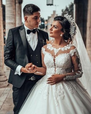 Designer A linie Hochzeitskleider Mit Ärmel   Brautkleider mit Spitze_4