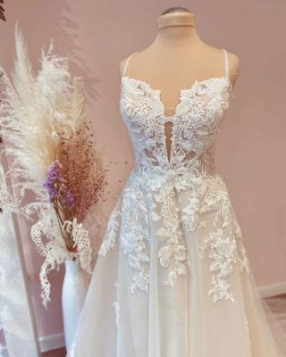 Designer Brautkleider A Linie Spitze | Schlichtes Hochzeitskleid_2