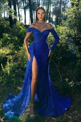 Abendkleider Lang Glitzer | Blaues Abiballkleid mit Ärmel