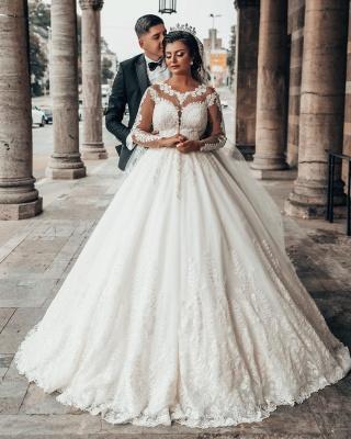 Designer A linie Hochzeitskleider Mit Ärmel   Brautkleider mit Spitze_7