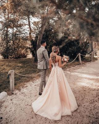 Schlichtes Brautkleider Blush Pink | Hochzeitskleider Mit Spitze_5