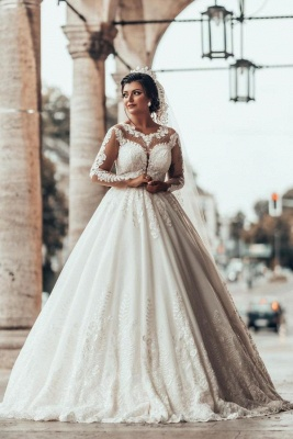 Designer A linie Hochzeitskleider Mit Ärmel | Brautkleider mit Spitze