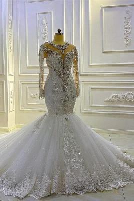 Extravagante Brautkleider Meerjungfrau Mit Ärmel | Hochzeitskleider Spitze