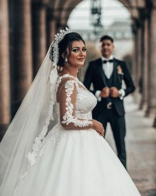 Designer A linie Hochzeitskleider Mit Ärmel   Brautkleider mit Spitze_6