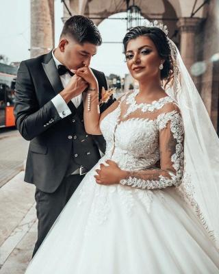 Designer A linie Hochzeitskleider Mit Ärmel   Brautkleider mit Spitze_3