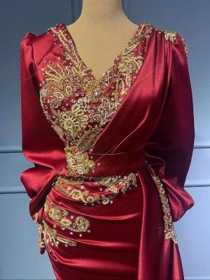 Rote Abendkleider Mit Ärmel   Elegante Abiballkleider Lang Günstig_5