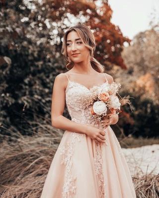 Schlichtes Brautkleider Blush Pink | Hochzeitskleider Mit Spitze_2