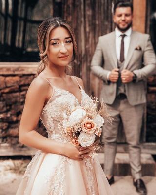 Schlichtes Brautkleider Blush Pink | Hochzeitskleider Mit Spitze_7