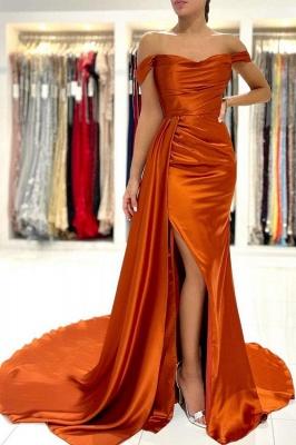 Schlichtes Abendkleid Lang Günstig | Orange Abiballkleider