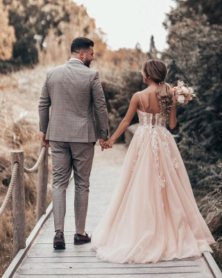 Schlichtes Brautkleider Blush Pink | Hochzeitskleider Mit Spitze_6